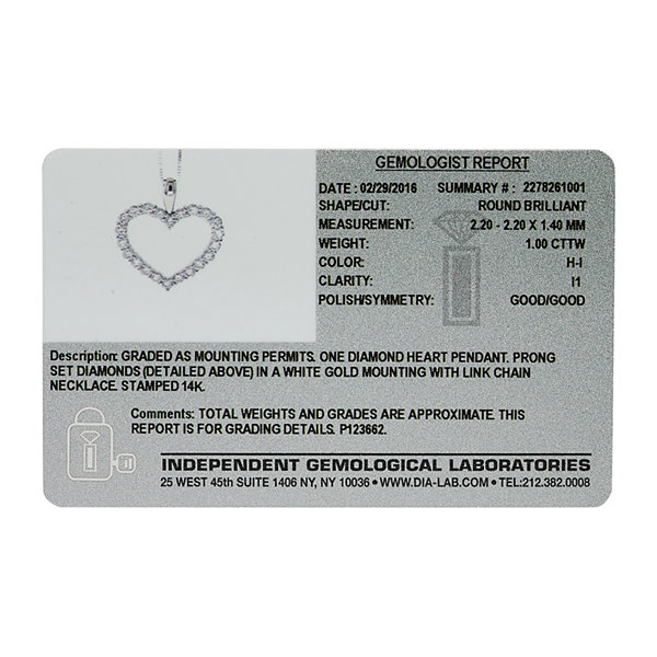 14K White Gold 1 Carat Diamond Igl Certified Heart Pendant with Chain