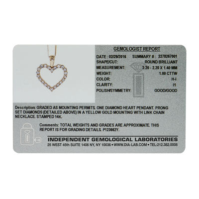 14K Yellow Gold 1 Carat Diamond Igl Certified Heart Pendant with Chain