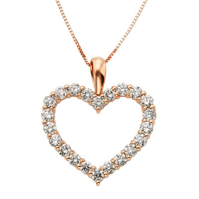 14K Rose Gold Diamond Certified Heart Pendant Chain