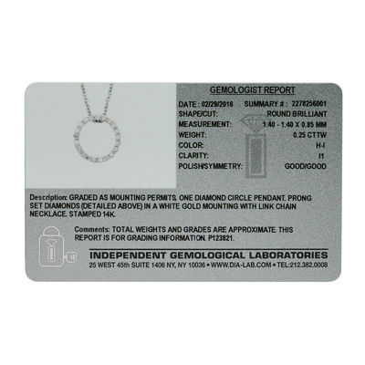 14K White Gold Diamond Certified Circle Pendant Chain