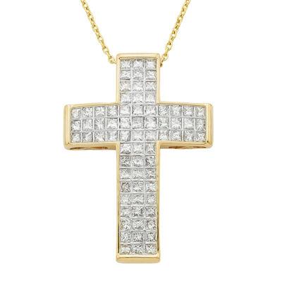 14K Yellow Gold 1 CT. T.W. Diamond IGL Certified Cross Pendant Necklace