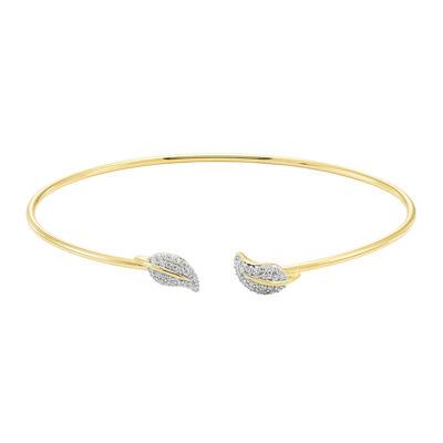 Silver .20 Carat Diamond Leaf Flex Bangle Bracelet