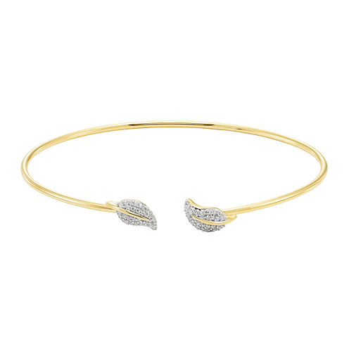 Silver .20 Carat Diamond Leaf Flex Bangle Bracelet