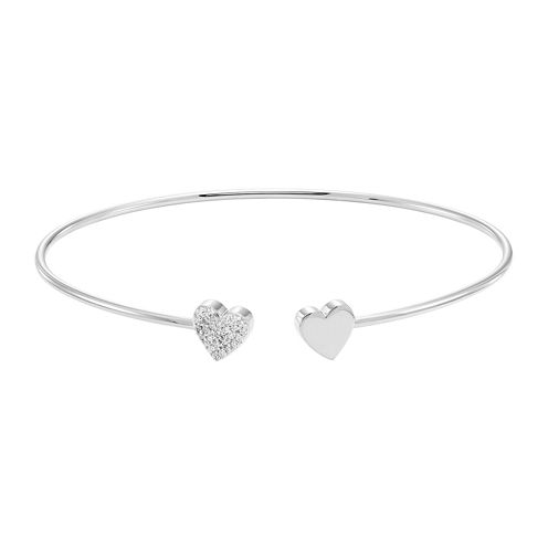 Silver .11 Carat Diamond Hearts Flex Bangle Bracelet