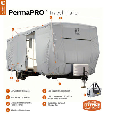 Classic Accessories 80-137-171001-00 PermaPro Travel Trailer & Toy Hauler Cover, Model 4