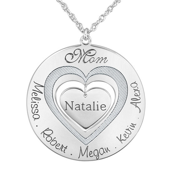 """Personalized """"Mom"""" with Child Names around Heart Pendant Necklace"""