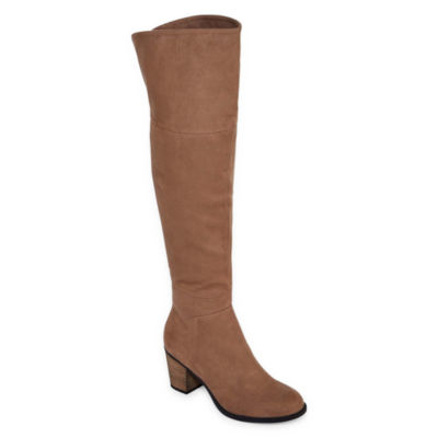 Diba London Womens Over the Knee Boots Block Heel Zip