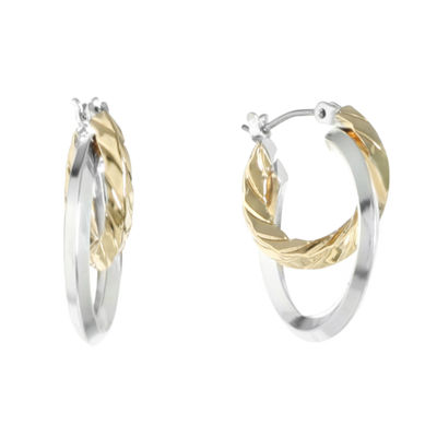 Liz Claiborne® Two-Tone 2-Row Hoop Earrings