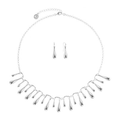 Liz Claiborne® Silver-Tone Fringe Collar Necklace and Earring Set