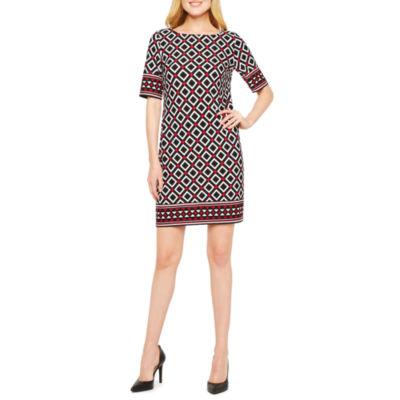 R & K Originals Elbow Sleeve Geometric Shift Dress