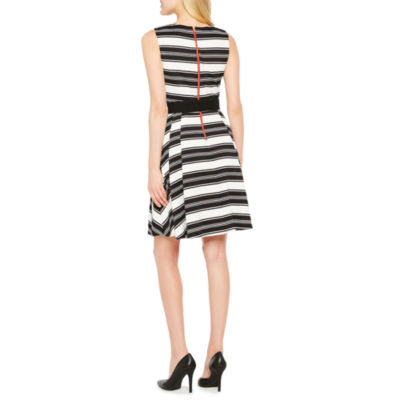 Danny & Nicole Sleeveless Stripe Fit & Flare Dress