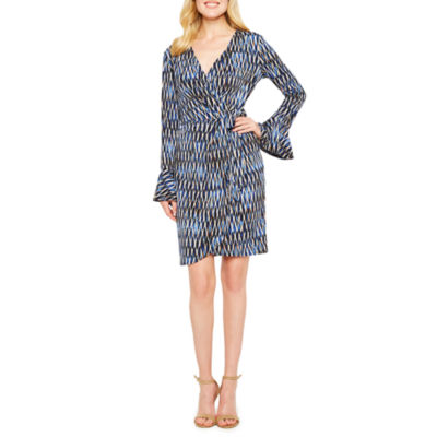 London Times Long Sleeve Geometric Wrap Dress