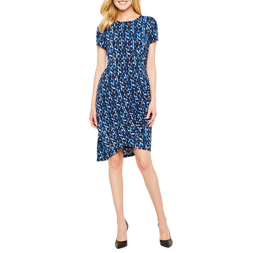 London Times Short Sleeve Geometric Wrap Dress