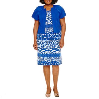 Maya Brooke Short Sleeve Jacket Dress-Plus