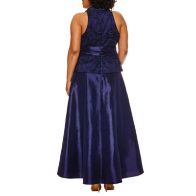 Blu Sage Sleeveless Lace Evening Gown-Plus