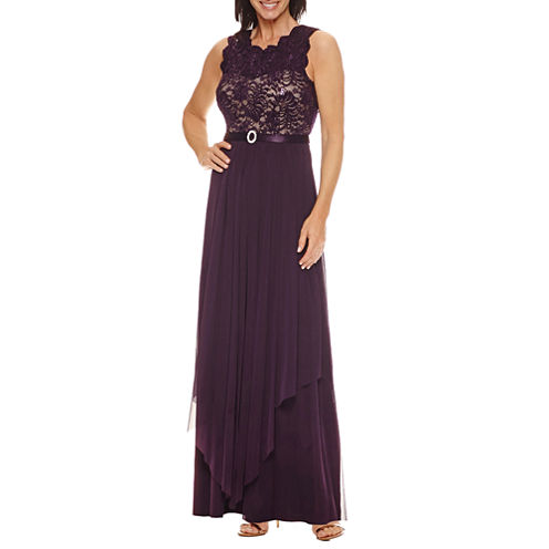 R & M Richards Sleeveless Belted Evening Gown
