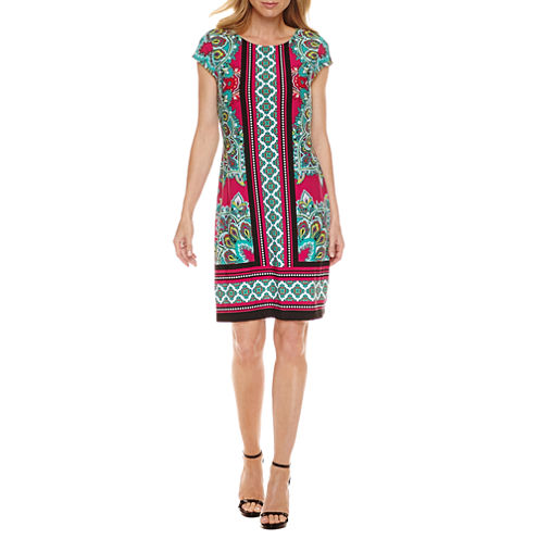 Liz Claiborne Short Sleeve Paisley Shift Dress