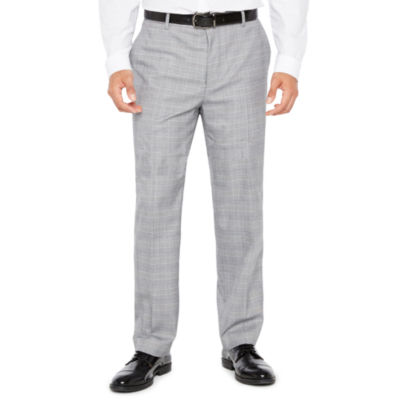 Men's JF Stretch Black White Flat-Front Straight-Leg Slim-Fit Pant