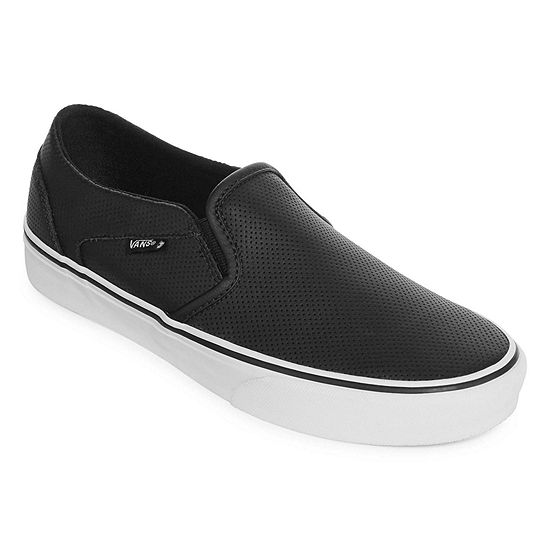 Vans® Asher Perforated Leather Slip On Womens Skate Shoes