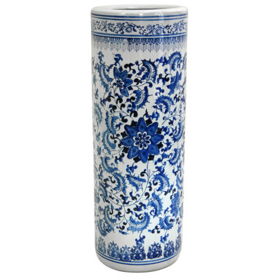 "Oriental Furniture 24"" Floral Blue & White Porcelain Umbrella Stand"""