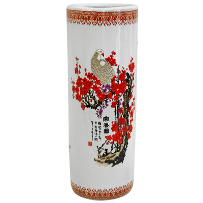 "Oriental Furniture 24"" Cherry Blossom Porcelain Umbrella Stand"""