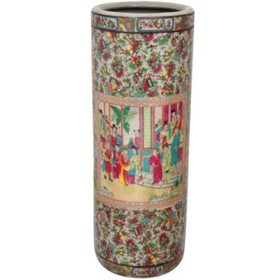 "Oriental Furniture 24"" Rose Medallion Porcelain Umbrella Stand"""