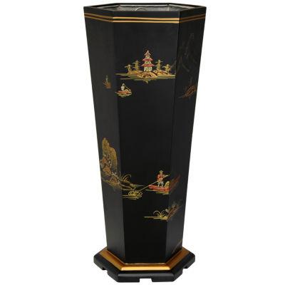Oriental Furniture Black Landscape Umbrella Stand
