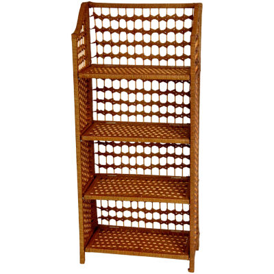"Oriental Furniture 33"" Natural Fiber 3-Shelf Bookshelf"""