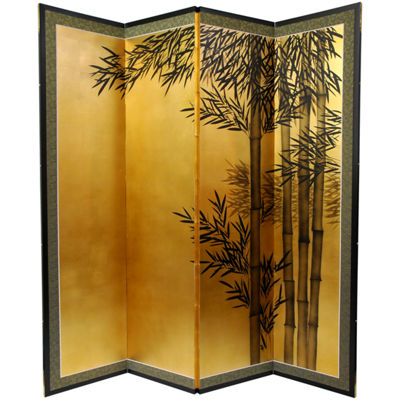 Oriental Furniture 5 1/2 Ft. Tall Gold Leaf BambooRoom Divider Room Divider