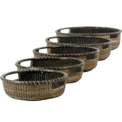 Oriental Furniture 5-Pc. Rattan Low Tray - AntiqueFinish 5-pc. Basket
