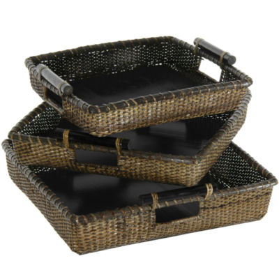Oriental Furniture 3-Pc. Rattan Square Tote With Pole Handles 3-pc. Basket