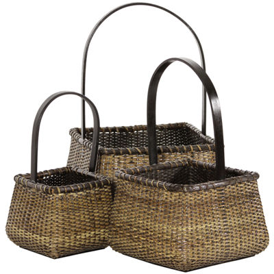 Oriental Furniture 3-Pc. Rattan Square Handle 3-pc. Basket