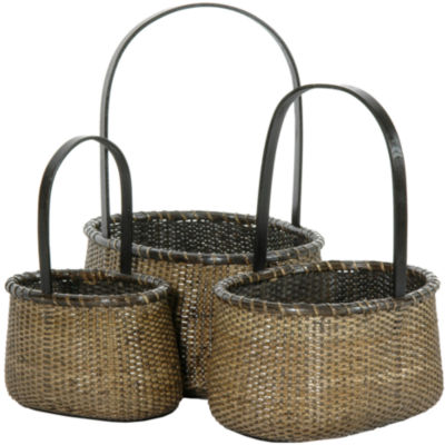 Oriental Furniture 3-Pc. Rattan Round Handle 3-pc.Basket