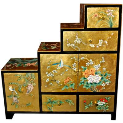 Oriental Furniture Gold Leaf Step Tansu Storage Trunk