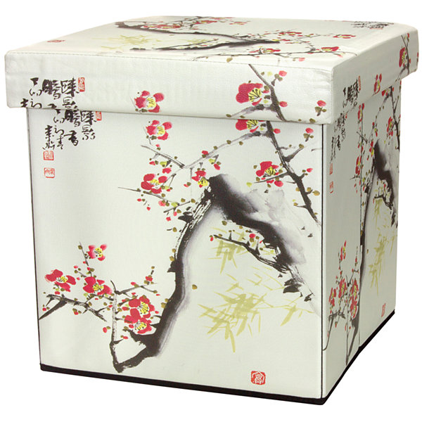 Oriental Furniture Cherry Blossom Footstool