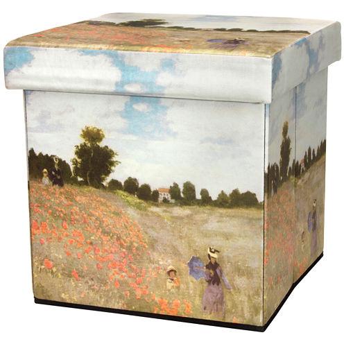 Oriental Furniture Monet Poppies Footstool