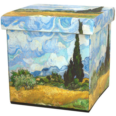 Oriental Furniture Van Gogh Wheat Field Footstool