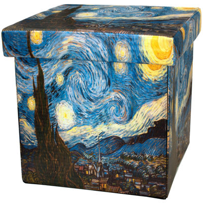 Oriental Furniture Van Gogh Starry Night Footstool