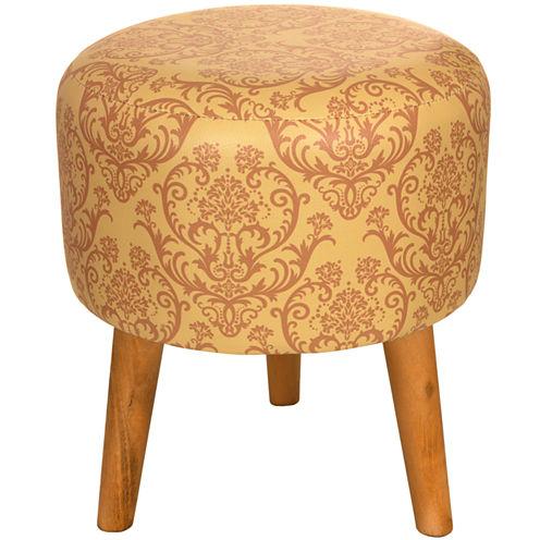 Oriental Furniture Yellow Damask Footstool