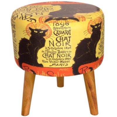 Oriental Furniture Chat Noir Footstool