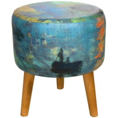 Oriental Furniture Monet Impression Sunrise Footstool