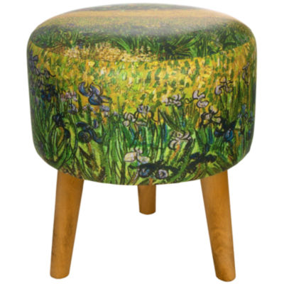 Oriental Furniture Van Gogh Irises Footstool