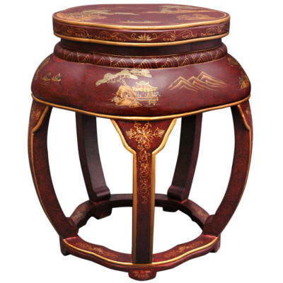 Oriental Furniture Lacquer Blossom Footstool