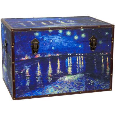 Oriental Furniture Van Gogh's Starry Night Over the Rhone Storage Trunk