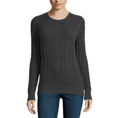 St. John's Bay Womens Crew Neck Long Sleeve Pullover Sweater