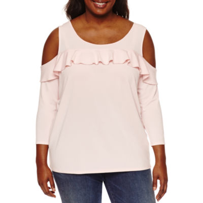 Boutique + 3/4 Sleeve Cold Shoulder Ruffle Knit Blouse-Plus
