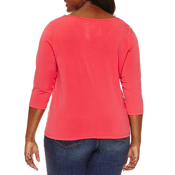 Boutique + 3/4 Sleeve V Neck Knit Blouse-Plus
