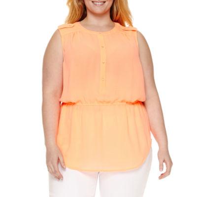 Liz Claiborne Sleeveless Popover Button Blouse-Plus
