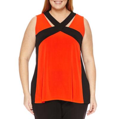 Worthington Sleeveless Cross Front Knit Tank Top-Plus