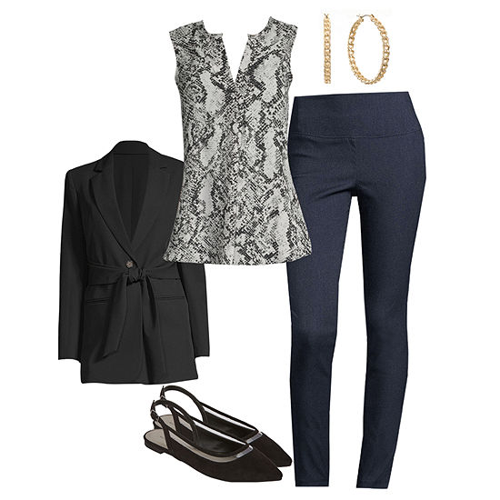 Worthington Looks: Tie-Waist Blazer with Tunic Top and Pull On Skinny Pants